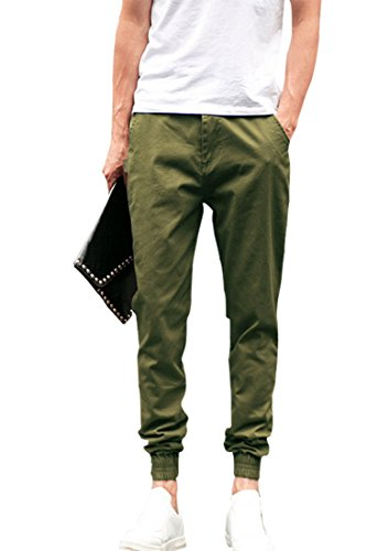ACHICGIRL All-Matching Cropped Cuffed Casual Slim Fit Man Pants, Olive Green M