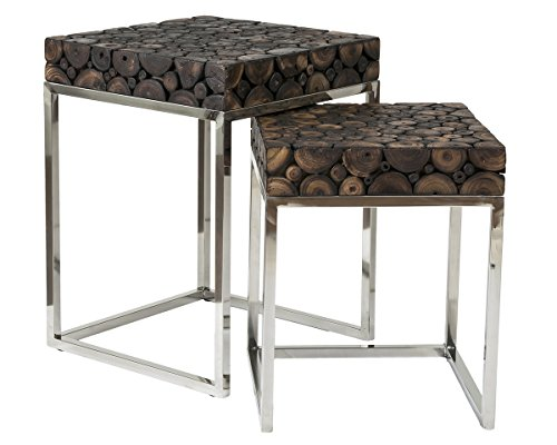 East At Main Tremont Brown Square Acacia Wood Accent Nesting Tables, 18x18x24; 16x16x22 For Sale