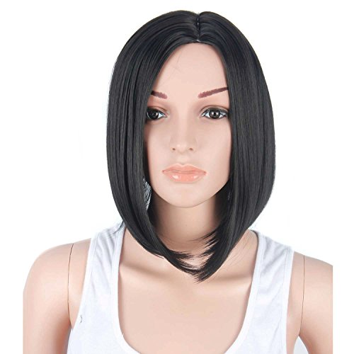 Netgo Black Bob Wig Short straight Heat Resistant Synthetic Black Hair Wig for Black (Black Bob Wigs)