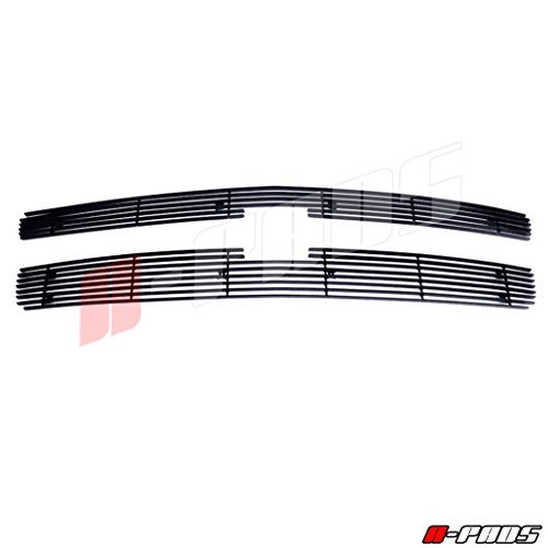 A-PADS 2PC Upper Main Black Grilles OVERLAYS for Chevy SILVERADO 1500 2007-2013 - WITH Logo Show, 6 & 8 Bars