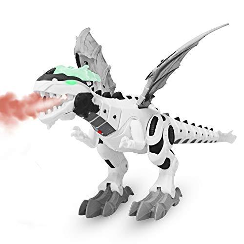 - M AOMEIQI Electronic Dino Robot Light Up Walking Toy Mist Spray Dinosaur with Sound