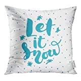 zebra snow brush - Emvency Blue Bright Lettering Let It Snow on Modern Inscription Labels Brush Celebrate Throw Pillow Covers 20x20 Inch Decorative Cover Pillowcase Cases Case Two Side