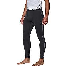 Under Armour Men's UA ColdGear Compression Legging, Black (001)/Charcoal, Large