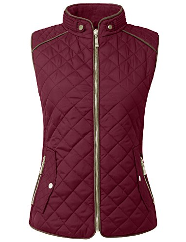NE PEOPLE Womens Lightweight Quilted Zip Up Stand Collar Padded Vest ()