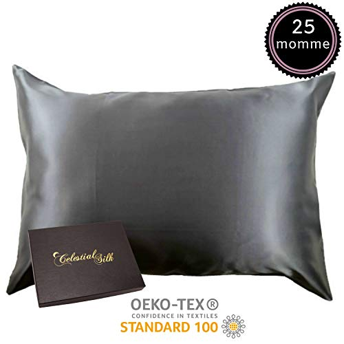 Celestial Silk 100% Silk Pillowcase for Hair Luxury 25 Momme Mulberry Silk, Charmeuse Silk on Both Sides -Gift Wrapped- (Queen, Charcoal Gray)