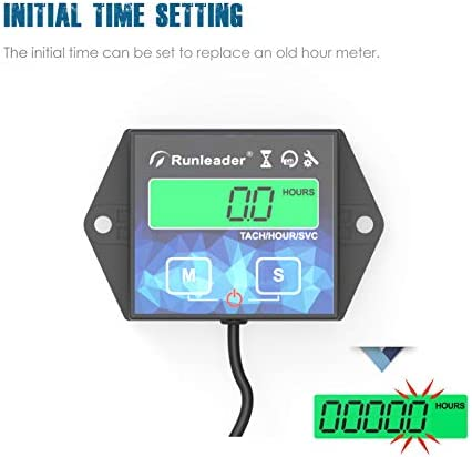 Battery Replaceable User shutdown,Use for Lawn Mower Tractor Generator Marine Outboard ATV Motor Snowmobile and Gas Powered Equipment Maintenance Reminder Runleader backlight Hour Meter Tachometer