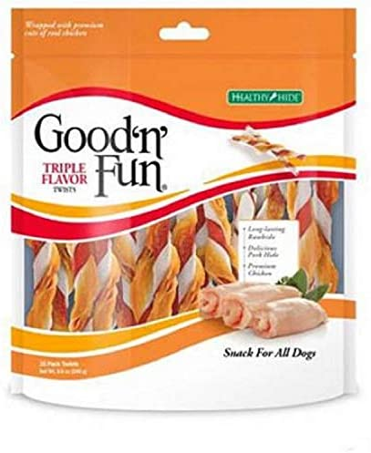 Good n Fun Triple Flavored Rawhide Twists Chews for Dogs Triple Flavored Rawhide Twists 140 Count