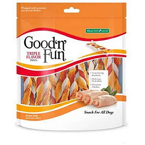 Good'n'Fun Triple Flavored Rawhide Twists Chews for Dogs (Triple Flavored Rawhide Twists 140 Count)