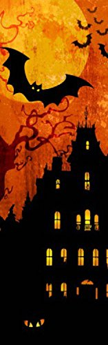 Halloween Poster Adhesive Photo Wall-Print - Spooky House and Blood Moon, 1 Part (94 x 30 inches) -