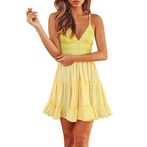 TANGSen Women Summer Backless Mini Dress Ladies Evening Party Beach Dresses Summer Fashion Short Sundress(Yellow,L)