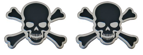 2 X (Pair/Set) BLACK on Silver CROSSBONES SKULL Cross Bones Skeleton Pirate Jolly Roger Real Aluminum Auto Emblem Badge Nameplate (Iron Aluminum Covers Hitch Cross)