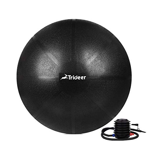 Trideer Exercise Ball (45-85cm) Extra Thick Yoga Ball Chair, Anti-Burst Heavy Duty Stability Ball Supports 2200lbs, Birthing Ball with Quick Pump (Office & Home & Gym) (Dark Black, M(48-55cm))