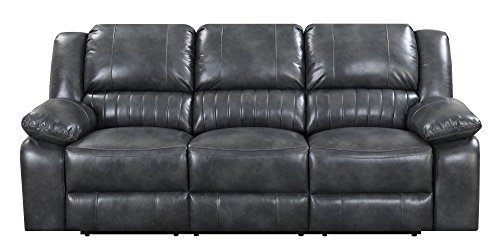 Artum Hill UP15-852 Austin Sofa in Charcoal Gray with Dual Recliners, Faux Leather Upholstery, and Pillow Top Back ()
