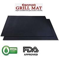 GRILL MAT DENAMARK, Tapetillo para Asador o Parilla, Juego de 2 piezas, Aprobado por FDA, Libre de PFOA , 0.2mm Extra Grueso, Alto Rendimiento y Anti Adherente Grill Mat - Reutilizable - Apto para Lavavajillas - 40 X 33 Cm Negro