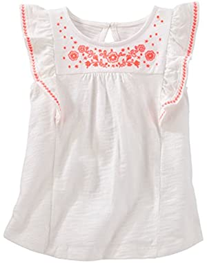 Girls Embroidered Flutter-Sleeve Tee, White, 10