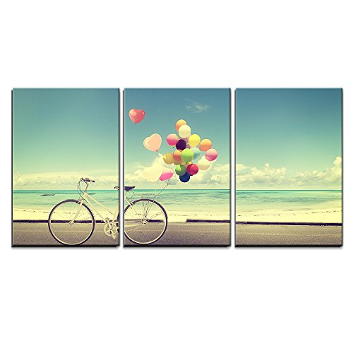 """Wall26 - 3 Piece Canvas Wall Art - Bicycle Vintage with Heart Balloon on Beach Blue Sky Concept of Love in Summer and Wedding - Modern Home Decor Stretched and Framed Ready to Hang - 16\""""x24\""""x3 Panels"""