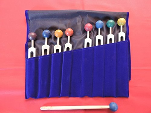 Chakra Tuning Forks Set - 9 Weighted Tuning Forks with Colored Chakra Balls and Free Pouch and Free Activator