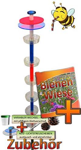 ÖLBAUM Tränke für Schmetterlinge Weiss blau-rot-R XXL 100 cm Bienentränke, LICHTFALLE/Scheibe-BLAU-ROT Bienenfutterstation Lasur Nistkasten Insekten XXL