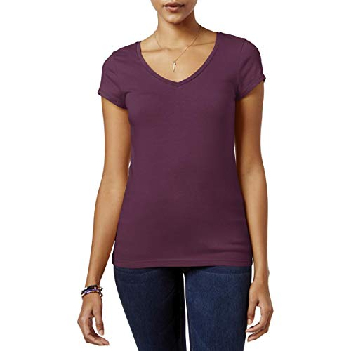 Energie Womens Juniors Knit V-Neck T-Shirt Red XS