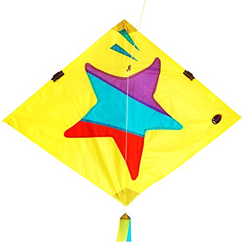 emma kites Little Star Diamond Kite 30-inch with Double Tails and Kite String - Easy to Fly - Kite for Kids and - Star Kite