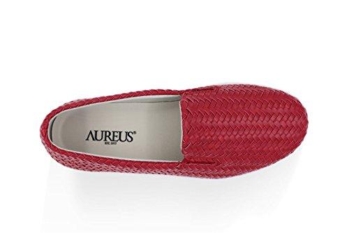 Aureus Womens Claire Weave Slip-on Fashion Sneaker Cherry