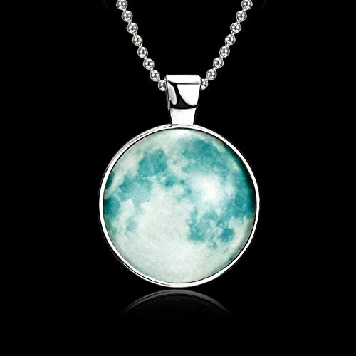 Kaputar Glow in The Dark Jewelry Full Moon Galaxy Planet Glass Cabochon Pendant Necklace | Model NCKLCS - 17971 |