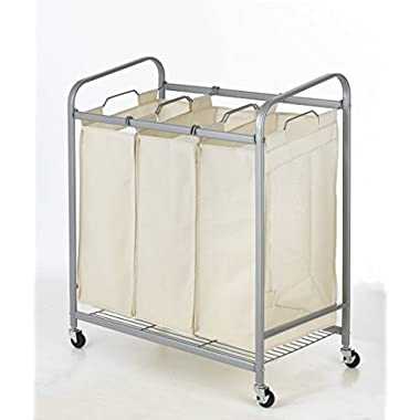 Heavy-Duty 3-Bag Laundry Sorter Cart Hamper Organizer LS03