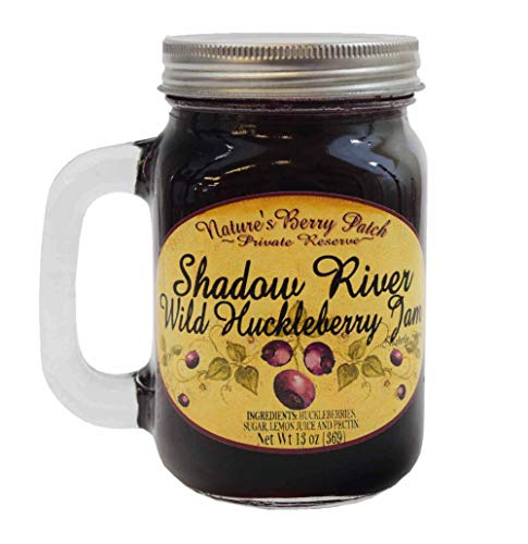 Shadow River Wild Huckleberry Gourmet Jam 13 oz Jar Mug with Handle ()