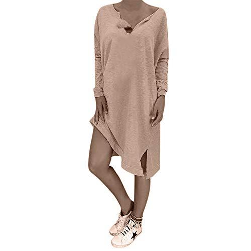 (Aniywn Women Loose Plus Size V Neck Tops T-Shirt Dress Ladies Caftan Boho Solid Color Dress Blouse (L, Khaki 2))