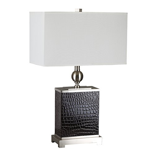 Shelton Contemporary Table Lamp, 25-Inch, Brown Leather ()
