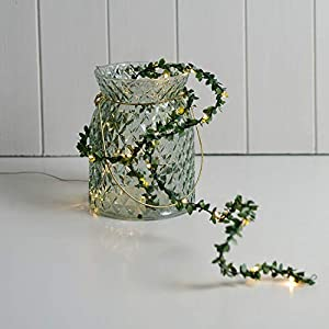 FANStek Artificial Leaf Garlands LED Lighted Green Leaves Decorative Home Wall Garden Wedding Party Wreaths Decor 84