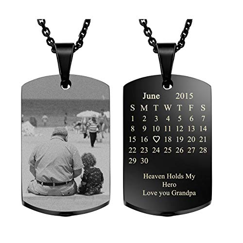 (Personalized Master Custom Special Date Calendar/Photo/Text Necklace,Military Dog Tag Pendant Urn Necklace for Ashes Memorial Keepsake Cremation Jewelry)