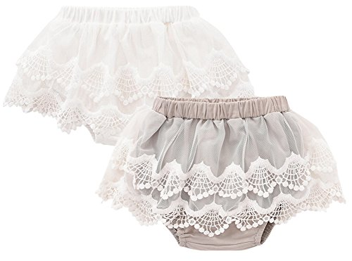 Bysweet Baby Girl Bloomers Diaper Covers Toddler Lace Flower Skirts White and Gray 2 Pack (6-12, Gray White)