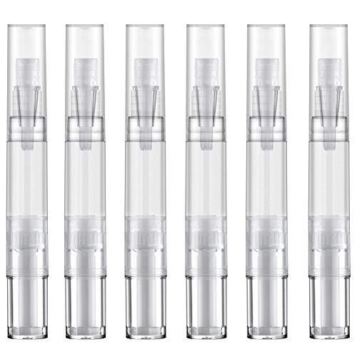 5 ml Empty Nail Oil Brush Twist Pen Applicator, Teeth Whitening Pen, Lip Gloss Tubes with Brush, Makeup Pen Tube for Cuticle Oil & Jojoba Oil (Transparent, Pack of 6)