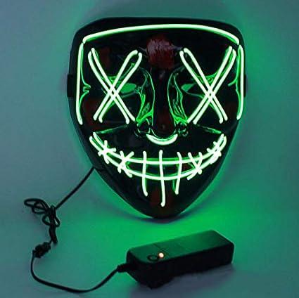Charlemain Máscara LED Cosida, Máscara de Luz, Máscara Parpadeante Colorido de Delirio Los Colores Brillan para Festivales / Halloween / Navidad / ...