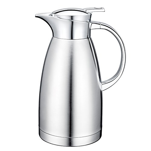 64 Oz 18/10 Stainless Steel Coffee Carafe Thermos Carafe Double Walled with press button Vacuum Carafe Insulated by (Double Walled Carafe)