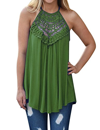 Women's Summer Casual Tank Tops Lace Flowy Sleeveless Tops Loose Off Shoulder Halter T Shirts (Green, XXL) (Best Boxing Day Deals 2019)