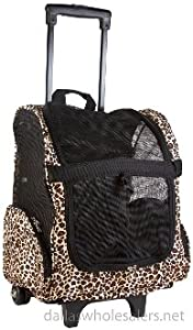 Amazon.com : Barker Brands Inc. Leopard Rolling Backpack Pet ...