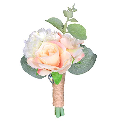 Abbie Home Peach Blush Rose Groomsman Boutonniere Wedding Guest Brooch Pin Flower for Prom Party