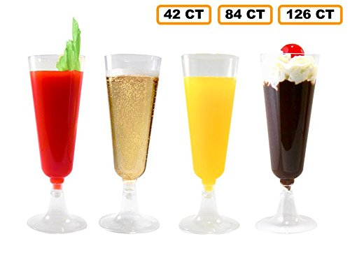 6 Ounce Each Pack (42 Champagne Flutes Premium 5.5 oz Clear Hard Plastic Disposable Glasses, Perfect for Mimosas, Bloody Mary's, Wine Glasses, Sodas, Cocktail Cups, Parfaits, Sundaes and other Desserts)
