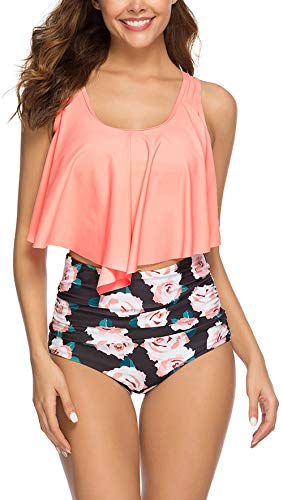 Swimsuit for Women High Waisted Swimsuits Tummy Control Two Piece Tankini Ruffled Flounce Top with Swim Bottom Bathing Suits (Pink Flower, S)