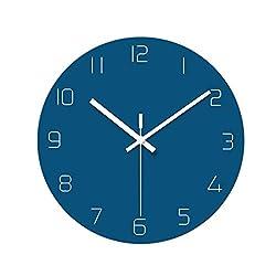 Glass Wall Clock Modern Minimalist Clock Table Living Room Classic Ultra-Thin Minimalist Creative Wall Clock Mute Round (Color : Blue)