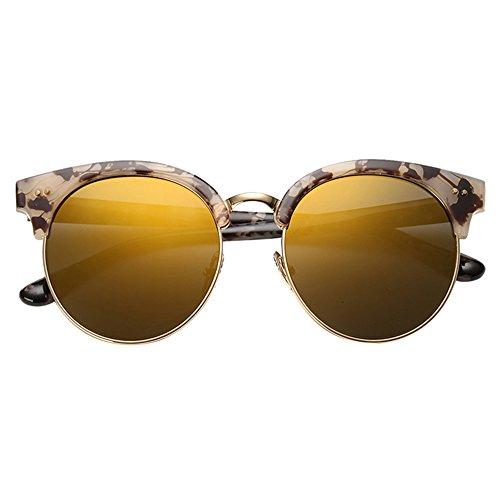 retra ZHIRONG gafas de la de redondas redondo 03 Gafas del la de sol de Color conducción viaje polarizado playa sol muchacha ligero de marco de manera 01 la qr1q7R