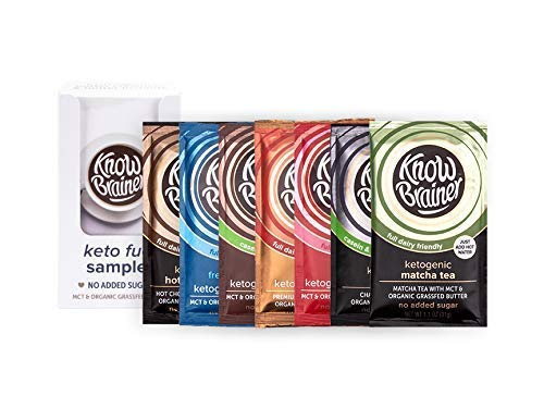 Know Brainer, Sampler Pack, keto creamer, original, mocha, and french vanilla and keto instants, instant coffee, matcha tea, chai tea, and hot chocolate, mct coconut oil, organic grass fed, non gmo, s