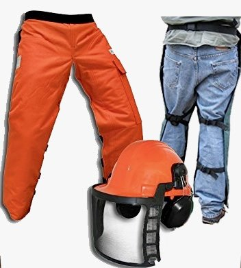 "Chain Saw Safety Chaps 36"" Leg Plus Deluxe Safety Helmet from Forester"