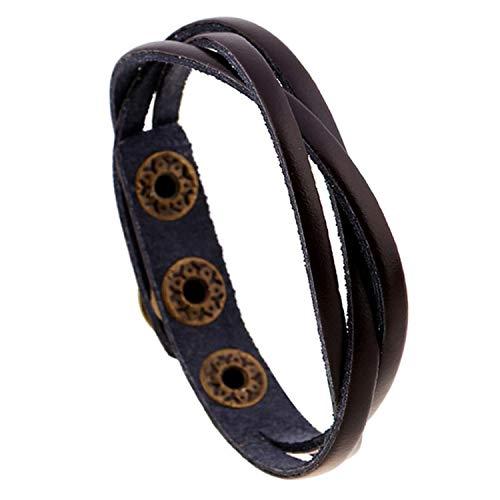 Tea language Bracelets Bangles for Couples Women Charm Bangle Bracelet Male Female Charms Leather Femme Men Jewelry,Dark Brown