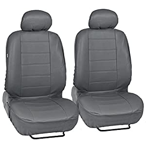 Custom Auto Crews - Gray PU Leather Seat Covers Front Pair Set of 2 - Leatherette Grade