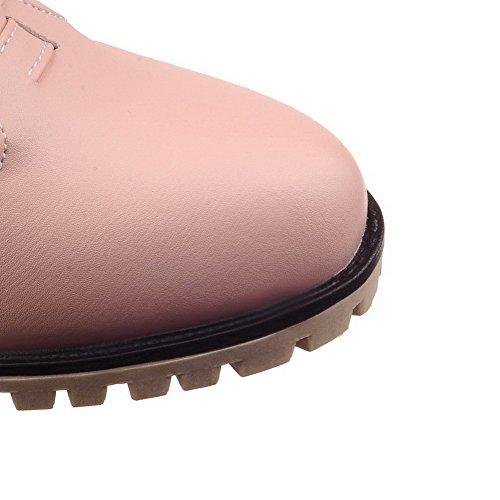 Amoonyfashion Damesgesp Pu Ronde Neus Kitten-hakken Stevige Pumps-schoenen Roze