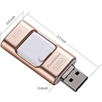 Telesthesia USB 3.0 USB Flash Drive HD U Disk With OTG Head for Android/iPhone 7/7 Plus/SE/6S Plus/6S/6 Plus/6/5S/5/11C/iPad/iPod/PC/MAC drive HD memory stick Dual purpose mobile(Golden) (64G)