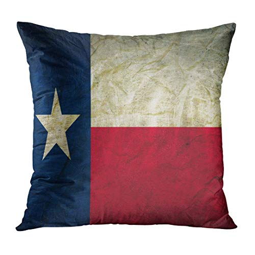 Shirna Throw Pillow Cover Houston Texas Flag on Abstract Aged Decorative Pillow Case Home Decor Square 18x18 Inches Pillowcase